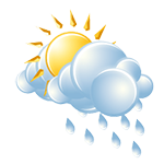A passing morning shower; otherwise, partly sunny