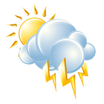 Intervals of clouds and sunshine with a shower or thunderstorm around; cooler